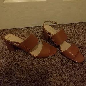 Calvin Klein open toe nude block heels